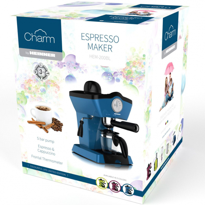 Espressor manual Heinner Charm HEM-200BL, 800W, 250ml, 3.5 bar, Albastru 1