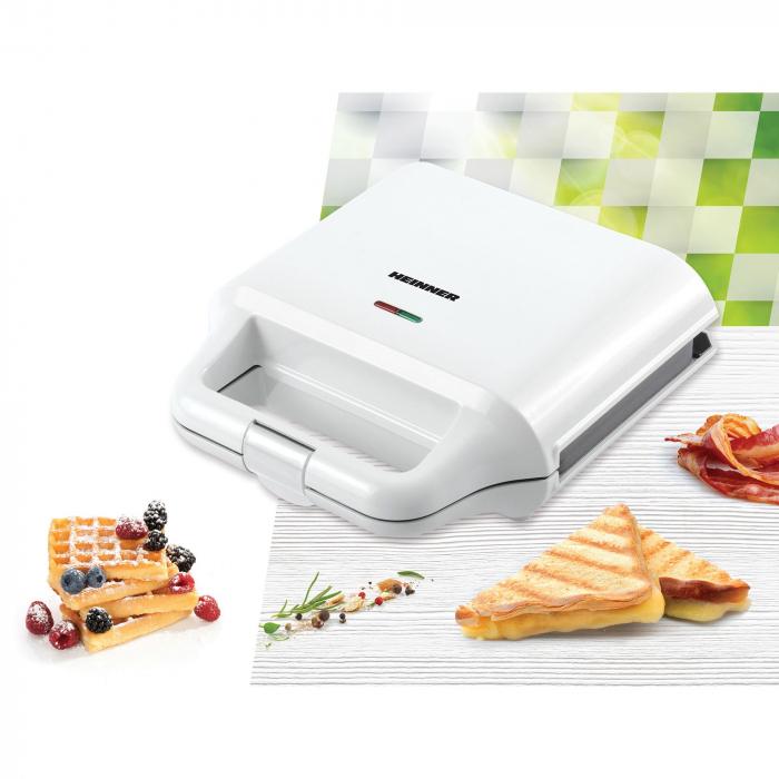 Sandwich maker Heinner SM-2H700WH, 700 W, 2 placi detasabile antiadezive: waffle, grill, Alb 2