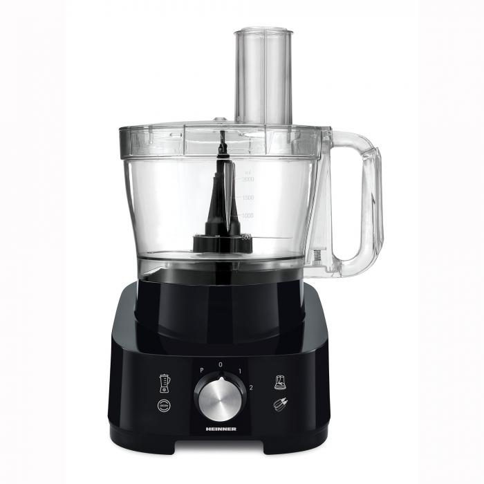 Robot de bucatarie Heinner Cookery Chef HFP-1000BK, 1000W, blender si rasnita incluse, capacitate bol 3.5L, capacitate blender 1.8L, 2 viteze + Pulse, cutit inox, Negru 2