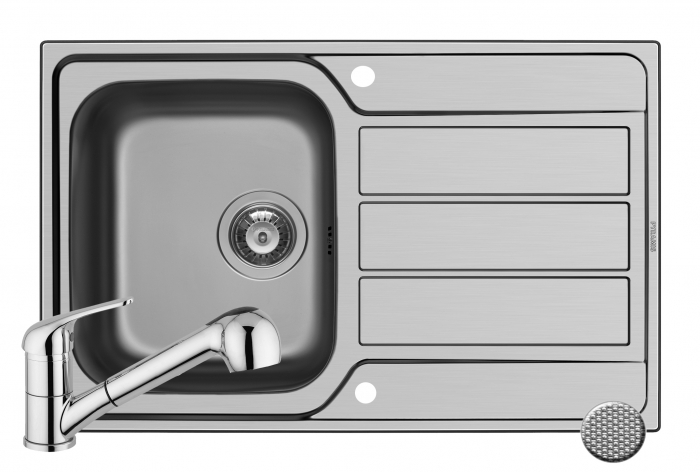 Set chiuveta inox ATHENA 79x50 1B1D LN & baterie FIDO crom [0]