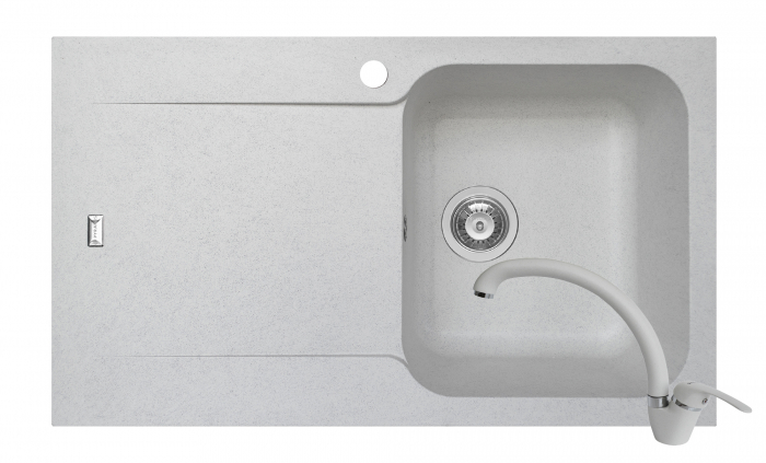 Set chiuveta soft compozit Pyramis Level DUROTHEK 1B 1D DR ALB + baterie OSSIA [0]