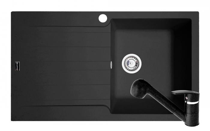 Set chiuveta soft compozit Pyramis SIERRA ARTITHEK 1B 1D DR + Baterie FIDO Negru [0]