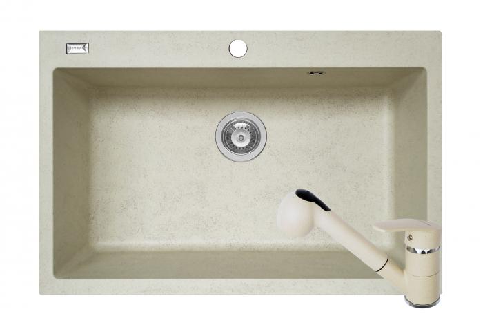 Set chiuveta soft compozit Pyramis Square 76x50 DUROTHEK + Baterie Fido [0]