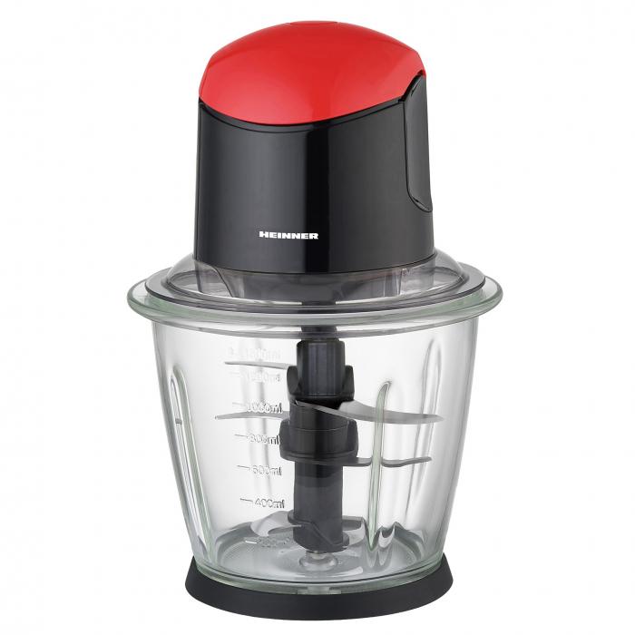Tocator de legume Heinner, bol sticla 1.5L, 3 cutite din inox, angrenaj metalic, baza anti-alunecare, sistem de siguranta, putere: 500W, culoare negru cu rosu 0