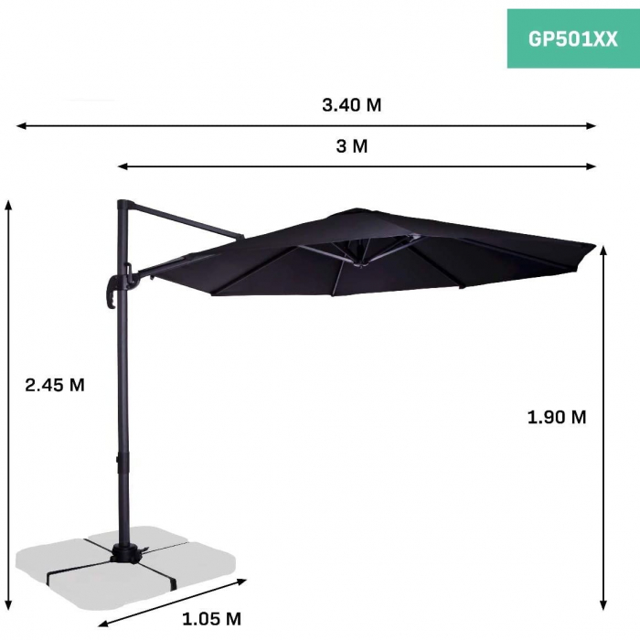 Umbrela de protectie solara pentru gradina, GP501XX, 300cm [3]