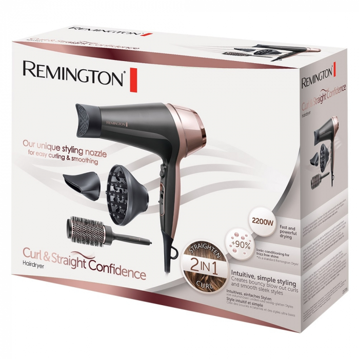 Uscator de par Remington D5706 Curl si Straight Confidence, 2200W, Ionizare, Difuzor, Jet rece, Concentrator, Negru [3]