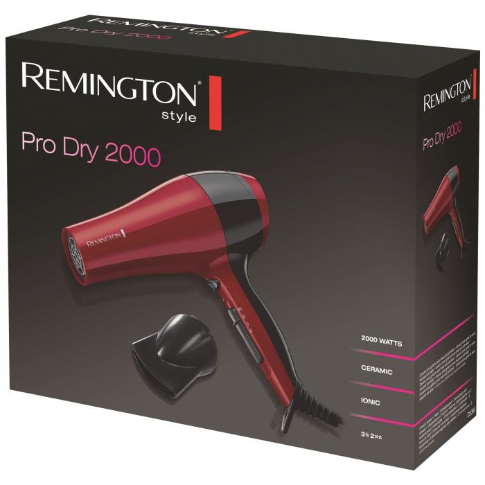 Uscator de par Remington D3080, 2000 W, Functie Ionica, Rosu 1