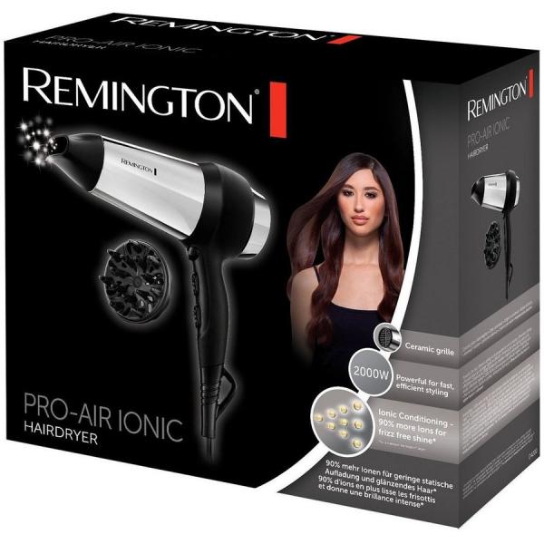Uscator de par Remington Pro Air Ionic D4200, 2000 W, Ionizare, 3 setari, 2 viteze, Argintiu/Negru 2