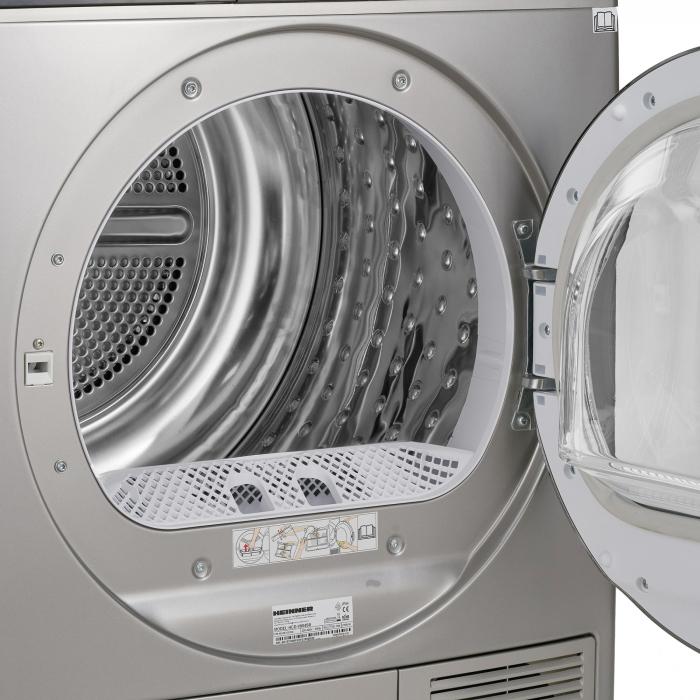 Uscator de rufe Heinner HHPD-V804SA++, Pompa caldura, 8 kg, Display LED, Lumina cuva, Anti-sifonare, Clasa A++, Argintiu 5