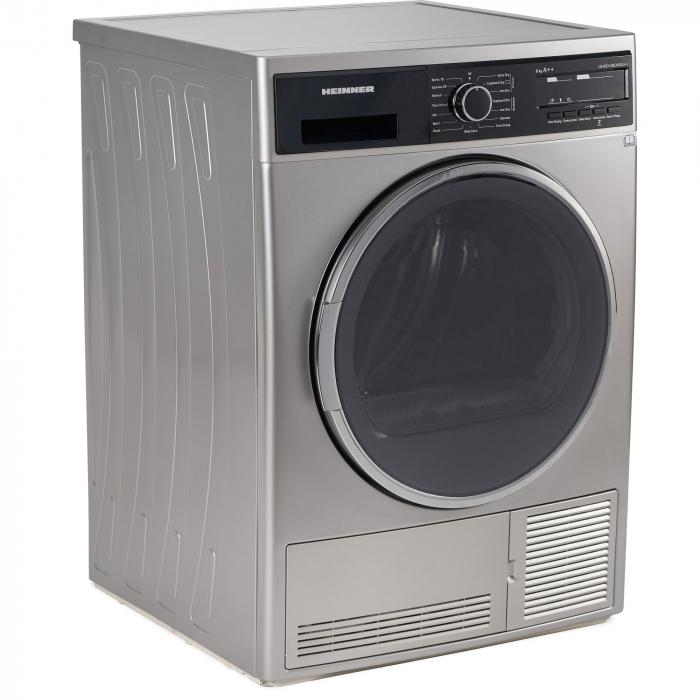 Uscator de rufe Heinner HHPD-V804SA++, Pompa caldura, 8 kg, Display LED, Lumina cuva, Anti-sifonare, Clasa A++, Argintiu 2