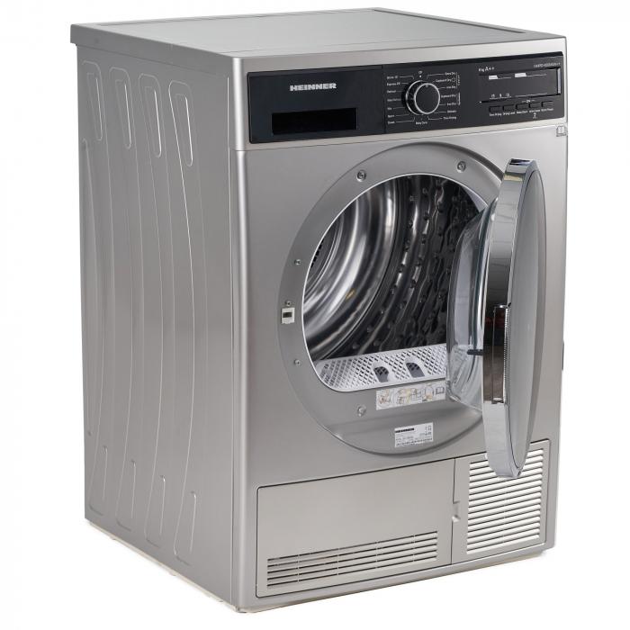 Uscator de rufe Heinner HHPD-V804SA++, Pompa caldura, 8 kg, Display LED, Lumina cuva, Anti-sifonare, Clasa A++, Argintiu 3
