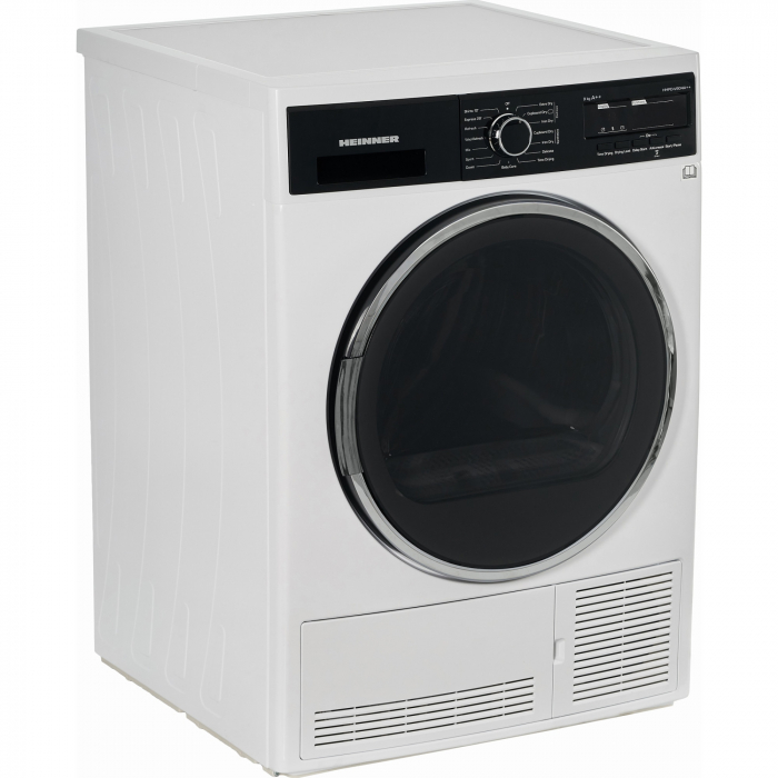 Uscator de rufe Heinner HHPD-V904A++, Pompa de caldura, 9 kg, 15 programe, Clasa A++, Display LED, Lumina cuva, Alb 1