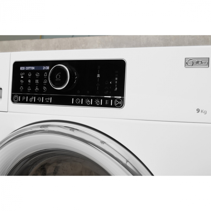 Uscator de rufe Whirlpool Supreme Care STU92XEU, Pompa de caldura, 9 kg, Clasa A++, Motor Inverter, 6th Sense, Display digital, Alb [5]