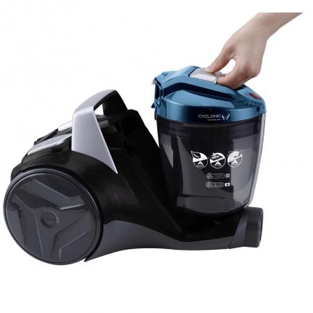 Aspirator fara sac Hoover Breeze BR71BR30011, 700W, 2 L, Filtru Lavabil EPA, Roata Frontala Rotativa 360° , Negru / Albastru4