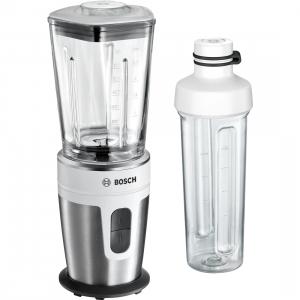 Blender Bosch MMBM7G2M, 21000 rpm, 350W, 0.6l, Vas de mixare din sticla ThermoSafe, 2 viteze, Accessorii din Tritan, Argintiu/Alb