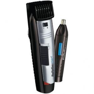 Aparat de tuns barba ,BaByliss E825PE, utilizare cu sau fara fir, lame inox, 1- 20 mm lungimi de taiere  + Trimmer nas si urechi, Negru