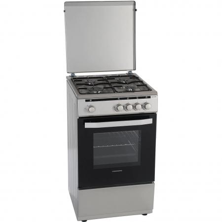 Aragaz Heinner HFSC-V50SL, 4 arzatoare, Gaz, Dispozitiv de siguranta plita/cuptor, Duze GPL incluse, 50 cm, Silver3