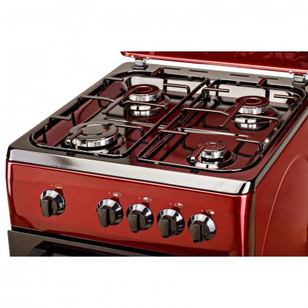 Aragaz LDK 5060 Bordo RMV, Gaz, 4 arzatoare, Capac metalic, Siguranta, 50x60 cm, Rosu inchis3