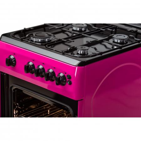 Aragaz LDK 5060 GRAI Purple, 4 Arzatoare, Capac sticla, Siguranta, Grill, Rotisor, Aprindere electrica, Iluminare, 50x60 cm, 3 Ani garantie, Roz, Preinstalare duze NG/LPG3