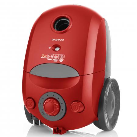 Aspirator cu sac Daewoo, 700 W, clasa A, 2.5 l capacitate, tub din plastic, control putere variabil, sac hartie, filtru evacuare normal, culoare: rosu [1]