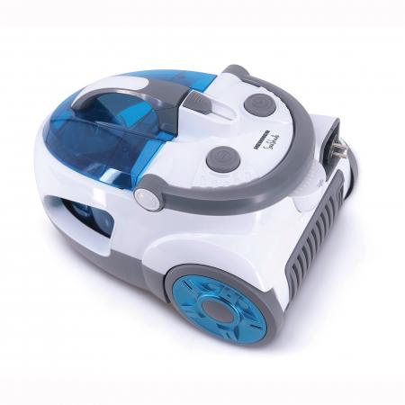 Aspirator fara sac Heinner SeaShade HVC-V800WBL, 800W, putere absorbtie: >170W, 2L, tija telescopica din metal, accesorii 2 in 1, perie canapea, alb/albastru1