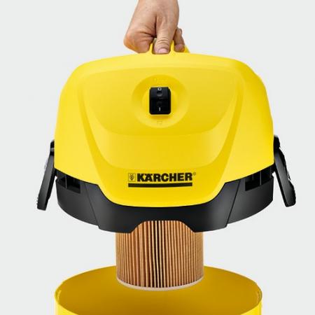 Aspirator multifunctional Karcher WD 3, Aspirare umeda si uscata, 17 l, Furtun 2 m, 1000 W, Sac filtru din hartie, Functie de suflare, Galben/Negru3