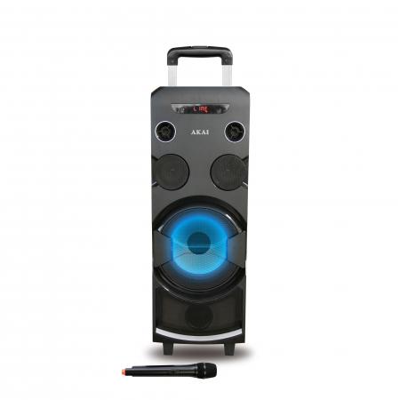 Boxa portabila AKAI ABTS-1002 , microfon wireless-Karaoke , BT/USB/SD/AUX/FM Radio, Telecomanda , Baterie reincarcabila1
