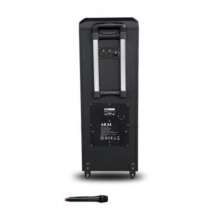 Boxa portabila AKAI ABTS-1002 , microfon wireless-Karaoke , BT/USB/SD/AUX/FM Radio, Telecomanda , Baterie reincarcabila2
