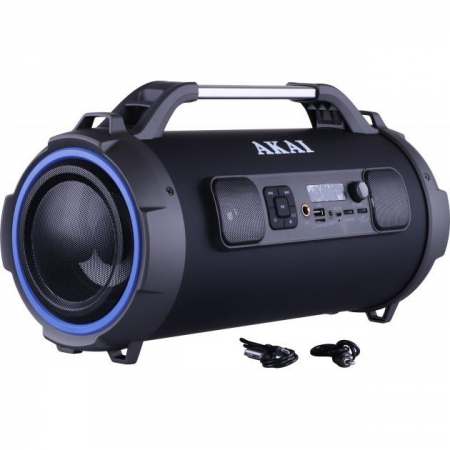 Boxa portabila cu trei difuzoare bazooka AKAI ABTS-13K cu BT , USB, Micro SD card , FM Radio , Aux-in 3.5mm ,Functie Karaoke ,Baterie reincarcabila, Lumini Led , Maner aluminiu7