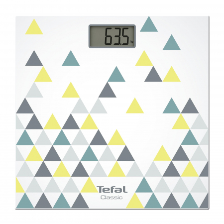 Cantar corporal Tefal Decor PP1145V0, 160kg, 100g, Lcd, 30x30cm, Alb/Abstract [0]