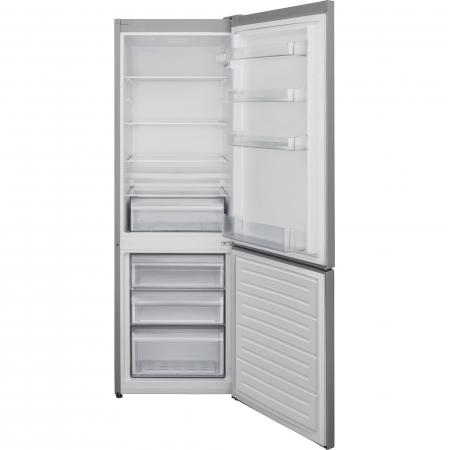 Combina frigorifica Heinner HC-V268SF+, 268 l, Clasa F, Iluminare LED, Control mecanic, Termostat ajustabil, Argintiu [1]