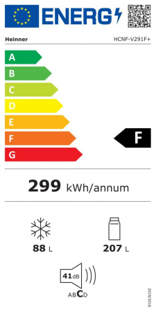 Combina frigorifica Heinner HCNF-V291F+, 295l, Full No Frost, Functie super congelare, Clasa F, H 186 cm, Alb [3]