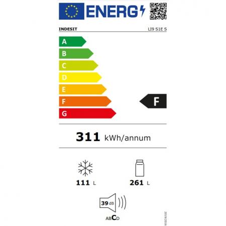 Combina frigorifica Indesit LI9S1ES, 372 l, Clasa F, Fast cooling, Less Frost, H 201 cm, Argintiu [2]