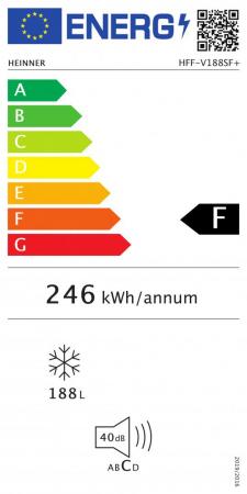 CONGELATOR HEINNER HFF-V188SF+, Clasa energetica: F, Capacitate totala: 188L, Control mecanic cu termostat ajustabil, 6 compartimente congelator, Usa reversibila, Capacitate congelare: 9.1kg/24h, Dime [2]