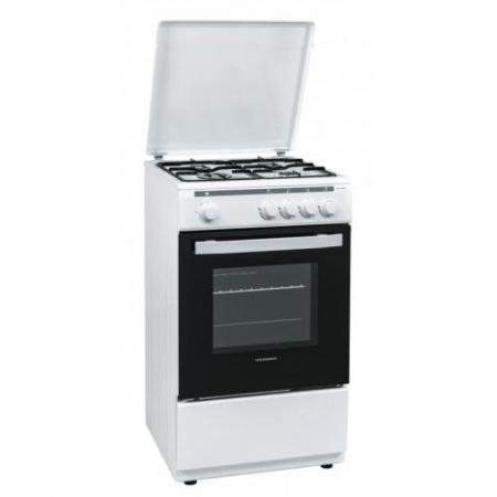 Aragaz Heinner HFSC-V50WH, 4 arzatoare, Gaz, Dispozitiv de siguranta plita/cuptor, Duze GPL incluse, 50 cm, Alb0