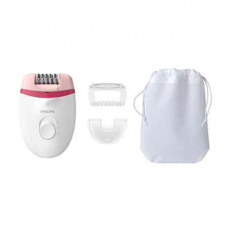 Epilator Philips Satinelle BRE255/00, 2 viteze, Opti-light, cap de epilare lavabil, 3 accesorii, Alb0