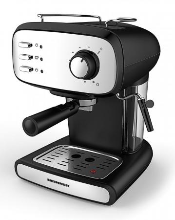 Espressor manual Heinner Black Boquette HEM-1100BKX, 850W, 15bar, rezervor detasabil 1.2L, filtru dublu din inox, Negru/Inox [0]