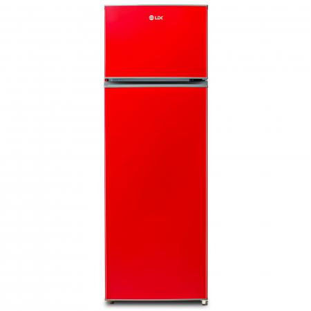 Frigider cu doua usi LDK LF 260 RED, Clasa A+, Capacitate 240 l, H 159 cm, 5 ani garantie, Rosu0