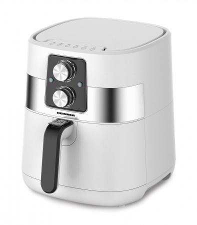 Friteuza fara ulei Heinner FryChef 1300 HAF-DM1300WH, 1300W, capacitate vas 4L, capacitate cos 3L, termostat reglabil: 140-200˚C, temporizator: 30 min, Alb [0]