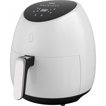Friteuza cu aer cald Heinner SnowDrop HAF-B2000WH, 2000W, vas detasabil antiaderent, capacitate cos: 5L, afisaj digital, termostat reglabil: 80-200˚C, temporizator, max. 60 min, Alb [0]
