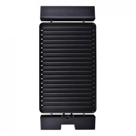 Gratar electric Heinner HEG-F1800, 1800 W, placa detasabila cu invelis anti-adeziv, placa 41 x 26 cm, Negru/Inox1