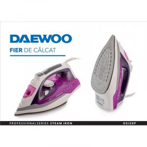 Fier de calcat Daewoo DSI20P, Talpa ceramica, 2400 W, 350 ml, 55 g/min, abur vertical, auto curatare, maner cauciucat, Violet