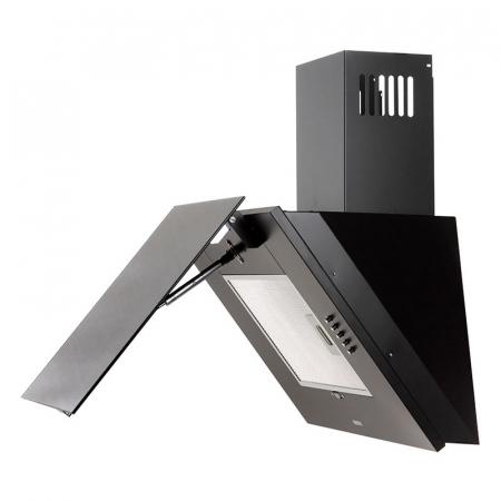 Hota Decorativa Tornado Vertikal 750 (60) LED, 1 motor Turbo, latime 60 cm, 3 viteze, absorbtie 750 m3/ora, filtru anti-grasimi aluminiu 5 straturi, Negru [1]
