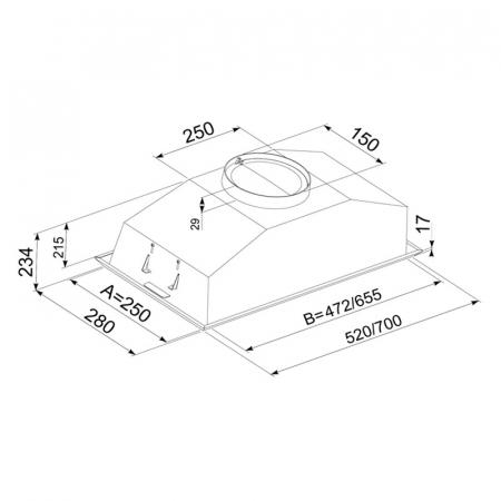 Hota Incorporabila Tornado Modul 1200 (70) LED, 1 motor Turbo, latime 70 cm, absorbtie 1200 m3/ora, filtru anti-grasimi aluminiu 5 straturi, Inox [3]