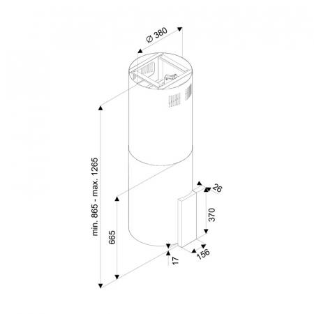 Hota tip Insula Tornado Tube Island 1200 (40) LED, 1 motor, inaltime 90-120 cm, 4 viteze, absorbtie 1200 m3/ora, Inox [1]