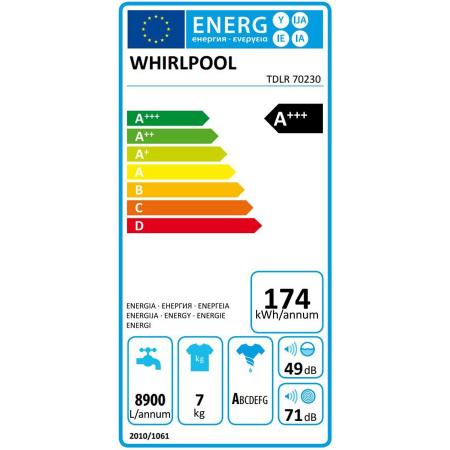 Masina de spalat rufe independenta cu incarcare verticala Whirlpool: 7,0kg - TDLR 7220SS EU/N [10]