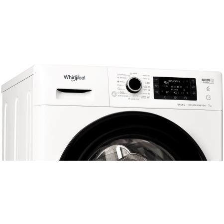 Masina de spalat rufe Slim Whirlpool FWSD71283BVEEN, 7 kg, 1200 RPM, Clasa A+++, Motor Inverter, 6th Sense, FreshCare+, Steam Refresh, Steam Hygiene, Alb [1]