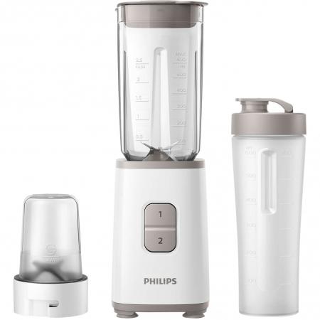 Mini blender Philips HR2603/00, 350 W, 1 L, 2 viteze, recipient on-the-go, multitocator, Alb0
