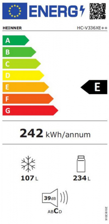 Combina frigorifica Heinner HC-V336XE++, 336 l, Clasa E, Tehnologie less frost, Iluminare LED, Control mecanic, Termostat ajustabil, H 186 cm, Argintiu [3]