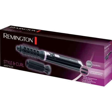 Perie cu aer cald Remington Style & Curl AS404, 400W, 2 trepte de temperatura, 2 accesorii, Negru3